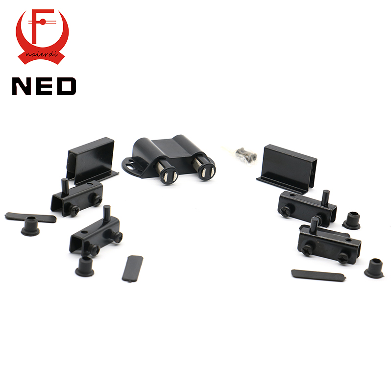 10Set NED-8007 Double Black Cabinet Door Stopper Glass Magnetic Push Open Touch Catch Stop Self-Aligning Kitchen Cupboard Magnet