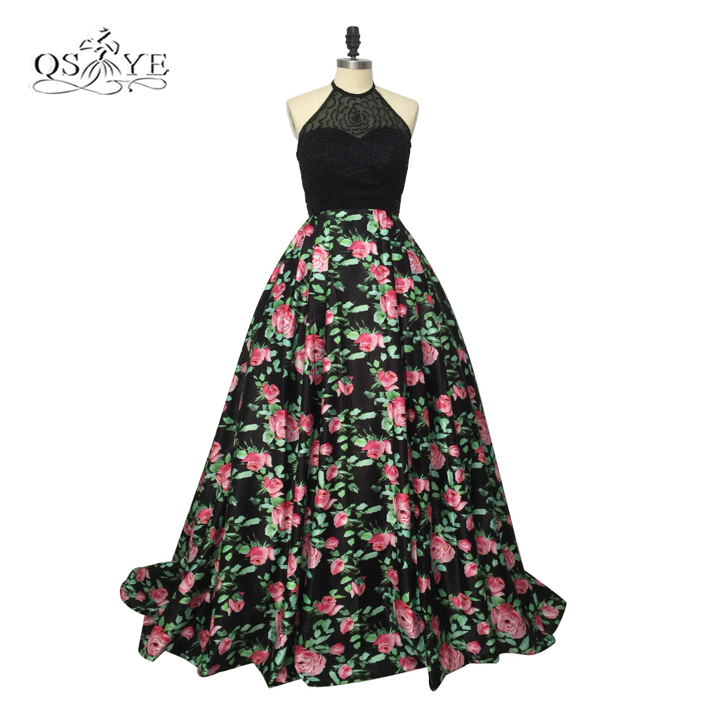 2017 New 3D Floral Flowers Pattern Print Prom Dresses Robe de Soiree Halter Open Back Formal Evening Party Gown Custom Made