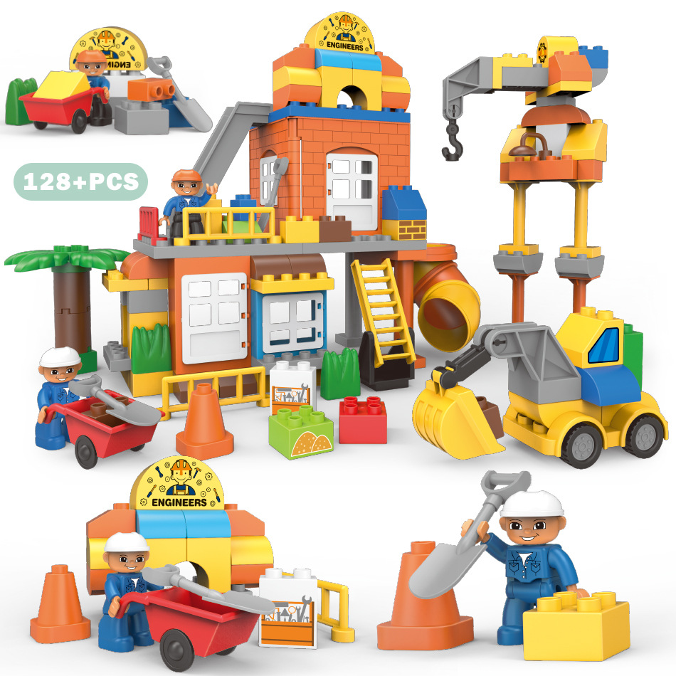 Large Size City Series Engineering Robots Figures Excavator Model Building Blocks Sets Compatible Legoing Duplo Bricks Kids Toys 196pcs building blocks urban engineering team excavator modeling design