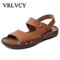 Full Grain Leather Men Sandals Fashion Hook Loop High Quality Genuine Leather Male Beach Shoes