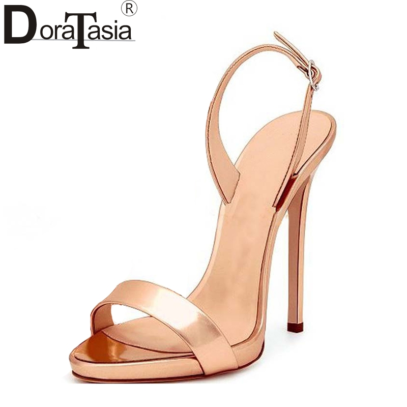 DoraTasia 2018 large size 33 43 brand shoes women sexy thin high heels ankle strap platform
