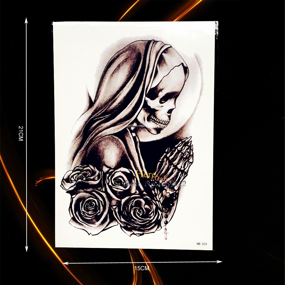 1PC Nontoxic Temporary Tattoo Rose Skull Num Mother Pray Design Flower Arm Decals B324 Waterproof Fake Tattoo Sticker On Arm Leg