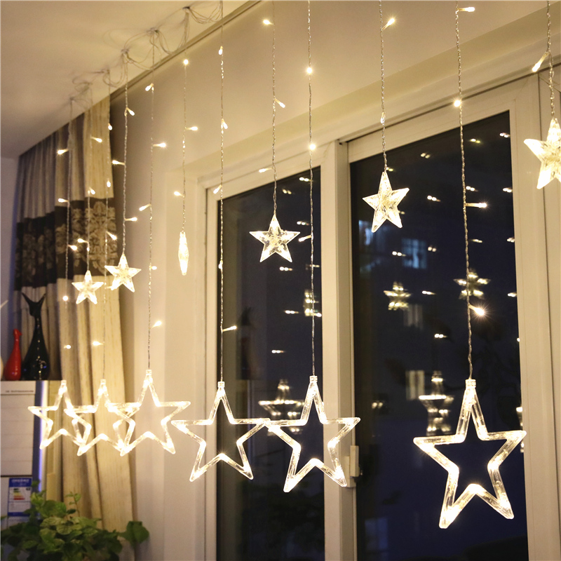 2M 6.5ft Fairy Garland Flash 8 Modes Star LED Curtain String Lights For Christmas Holiday Wedding Indoor Decoration EU Plug 220V