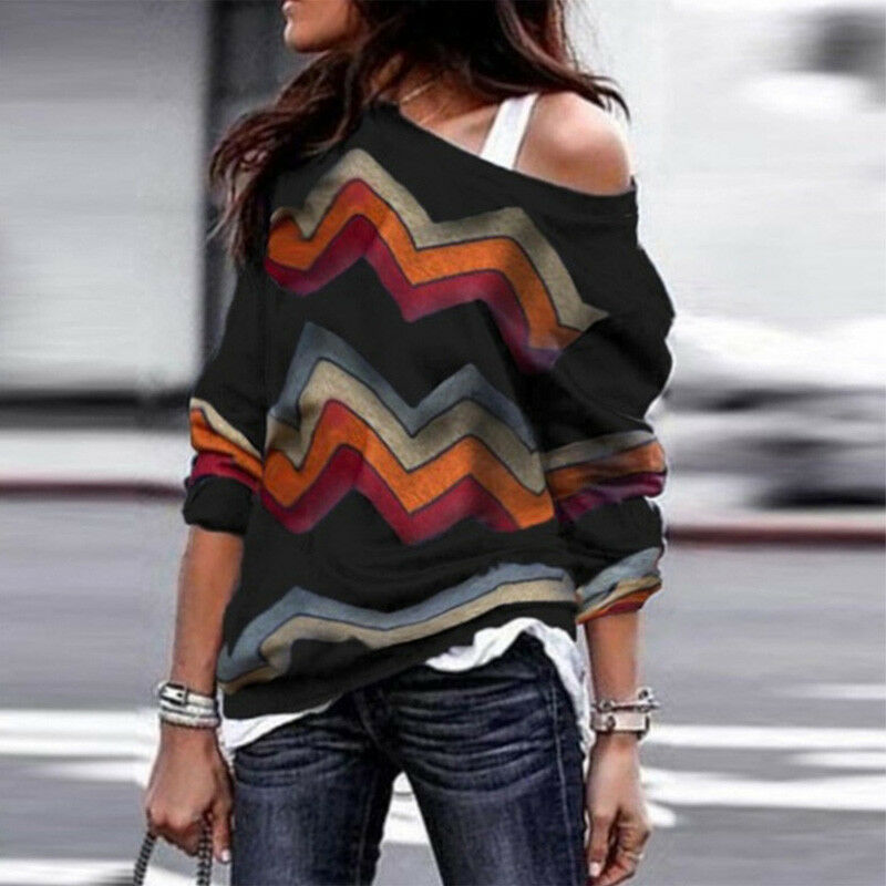 Plus Size Women Casual One Shoulder Geometric Strip Sweater Long Sleeve Oversize Sweater Pullover Tops Autumn