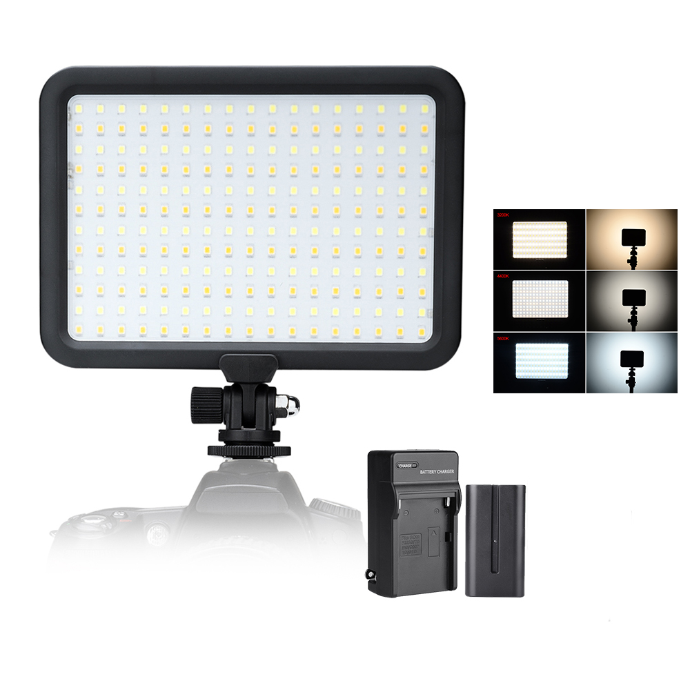 цена на 204 PCS Beads Led Video Light Panel Bi-color Temperature 3200K-5600K Photo Camera Studio LED Lighting + Battery + Charger