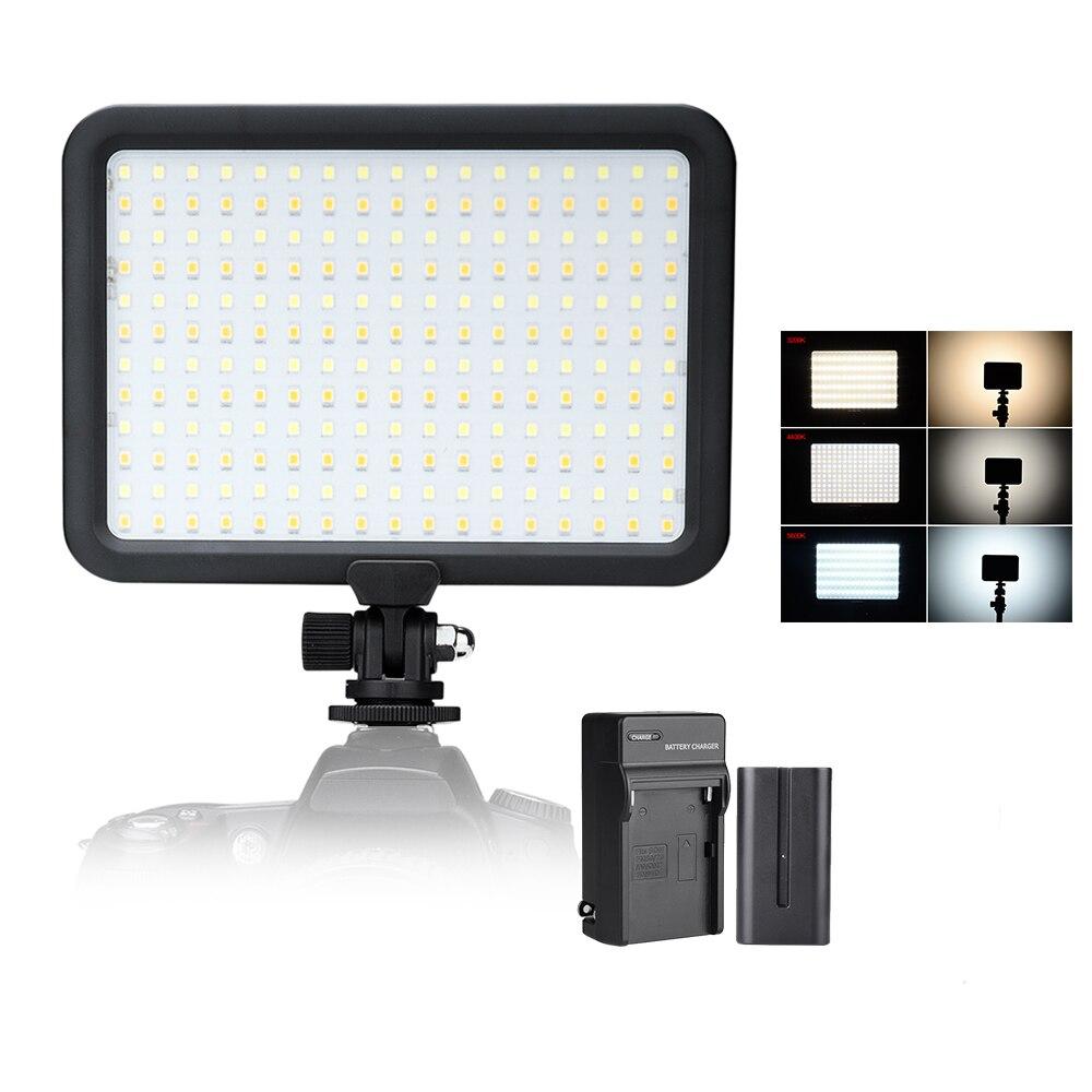 204 PCS Beads Led Video Light Panel Bi-color Temperature 3200K-5600K Photo Camera Studio LED Lighting + Battery + Charger