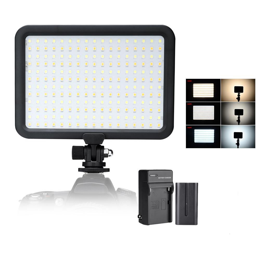 Prix pour 204 PCS Perles Led Vidéo Panneau Lumineux Bi-La Température De couleur 3200 K-5600 K Photo Caméra Studio LED éclairage + Batterie + Chargeur