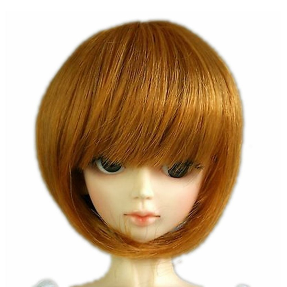 [wamami] 77# Gold Short Straight Wig 1/3 SD DZ DOD BJD Dollfie 8-9 new 1 3 bjd wig gray mixed pink short shtaight hair doll diy for1 3 1 4 1 6 1 8 1 12 bjd sd dollfie