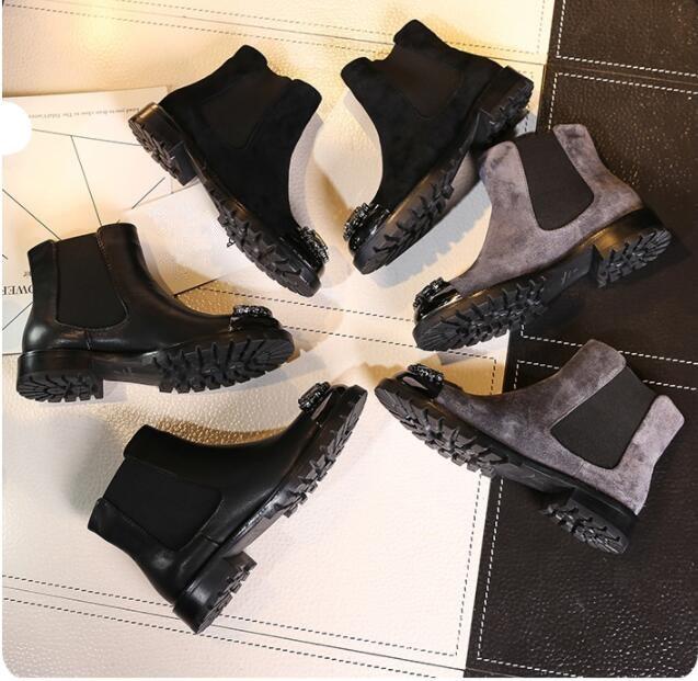 Pic Bout Daim as Cristaux Peluche Chaussures Slip Bottes En Pic Rond Femmes Doublure Courtes As De Chelsea Courte Plat Hiver Cheville Chaud on qzwtxtR1