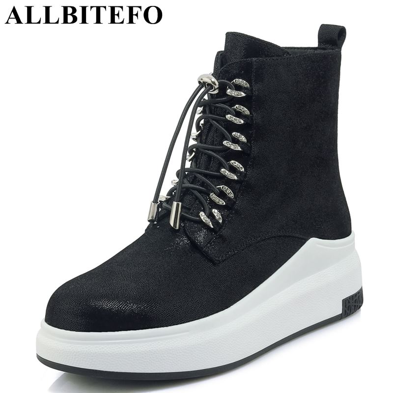 2e169168ab940 ALLBITEFO brand natural genuine leather sheepskin ankle women boots wedges  heel shoes platform boots fashion winter