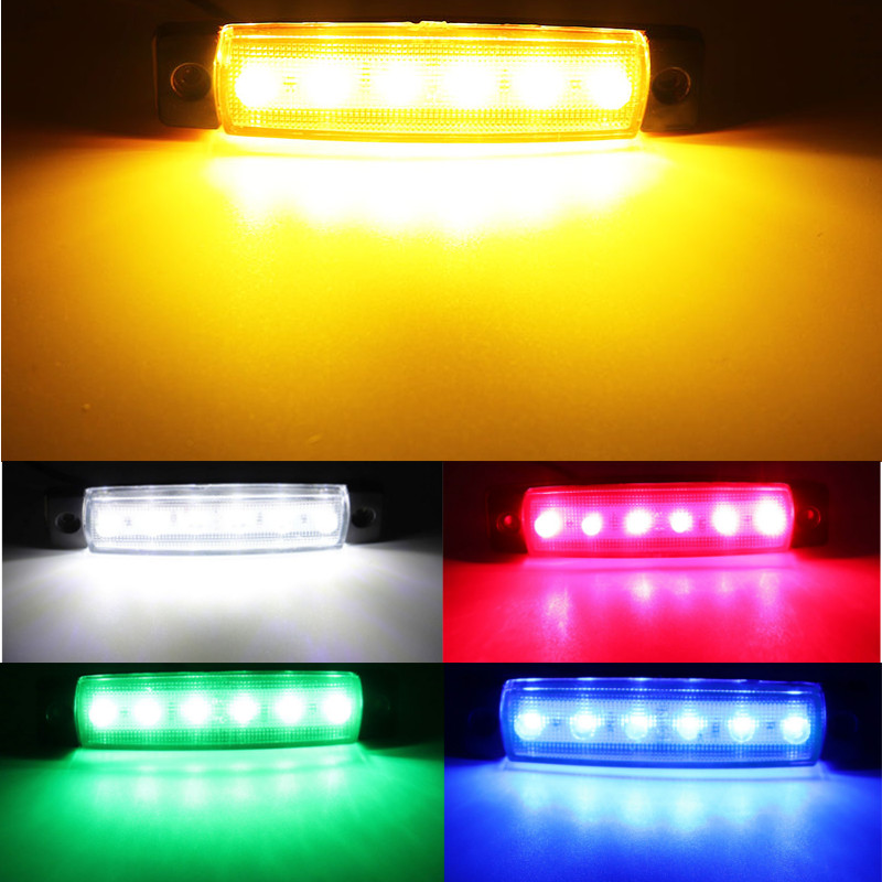 12V / 24V Car External Light 6 SMD LED Auto Car Truck Lorry Side Marker Indicator Tractor Trailer Light Rear Side Lamp Low Power