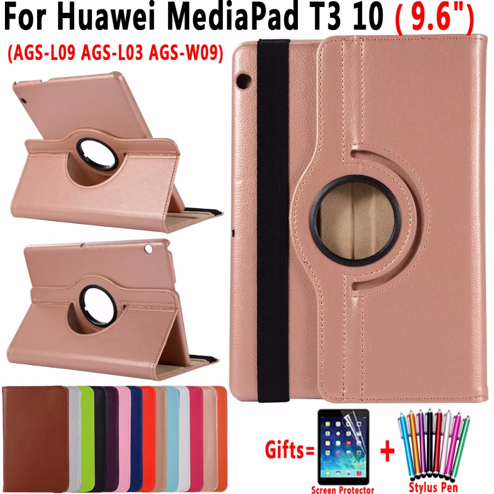360 Degree Rotating Leather Sleep Awake Tablet Cover Case for Huawei Mediapad T3 10 9.6 inch AGS-L09 AGS-L03 AGS-W09 Coque Capa