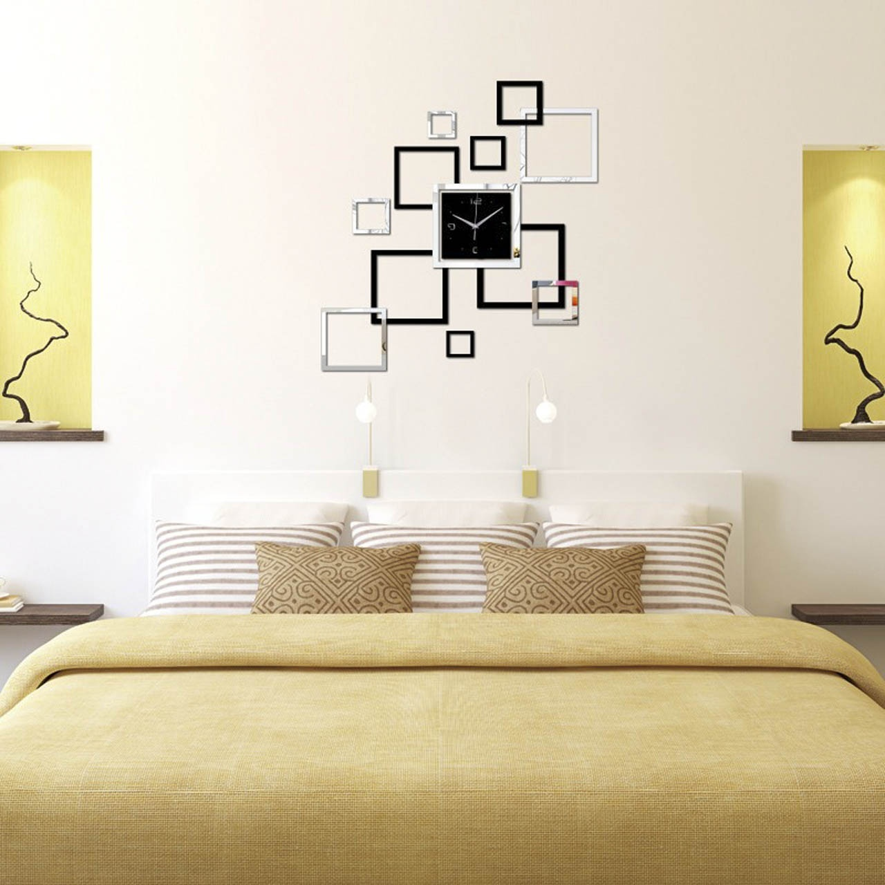 Hot sale modern design 3d diy diy wall clock mirror for Bedroom wall mirrors for sale