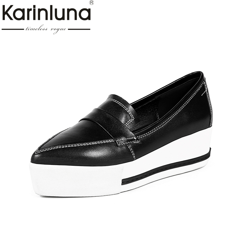 KarinLuna 2018 Genuine Leather Flat Platform Shoes Women Flats Fashion Thick Bottom Black Casual Woman Shoes Beige Footwear beffery 2018 british style patent leather flat shoes fashion thick bottom platform shoes for women lace up casual shoes a18a309