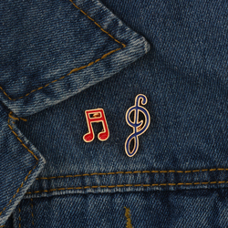 Yeni Yaratıcı Tasarım Karikatür Nota Broş Kırmızı Mavi Emaye Pin Moda Metal Rozet Pimleri Broş Giysi Dekorasyon Takı