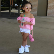 19c753482 2018 فتاة الملابس أزياء كوريا نمط القطن الفتيات الصيف مجموعة اطفال الدعاوى  للأطفال تي شيرت + السراويل ملابس الأطفال مجموعة RT-27.