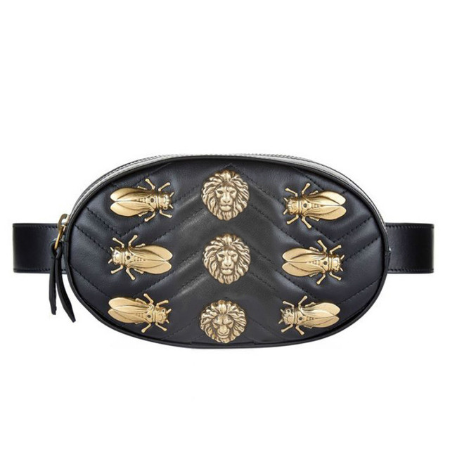 Waist Bag Women Rivets Waist Fanny Pack Luxury Brand Fashion PU Leather Belt Insect Red Black 2018 High Quality Chest Bags