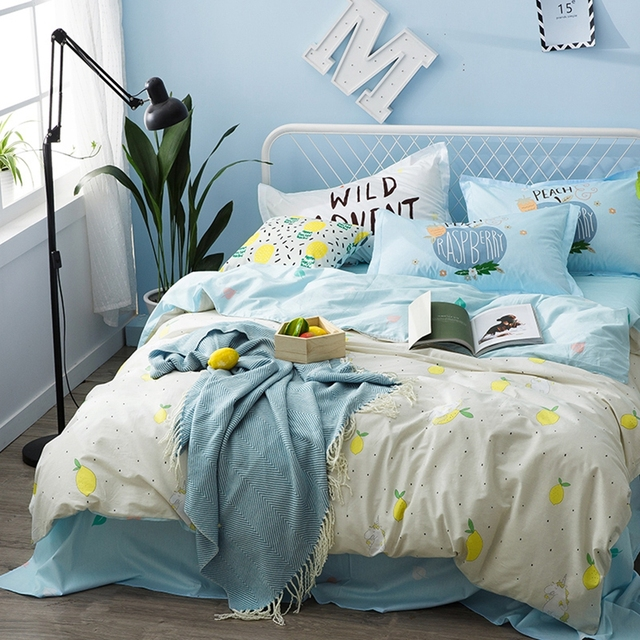 Blue Bed Sheets 100 Cotton Pillow Case Lemon Pattern Duvet Cover Set Queen Size Bedding