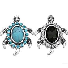 10pcs/lot 18MM Snap Jewelry Tortoise Stone Rhinestone Metal Snap Buttons fit 18mm Snap Brac