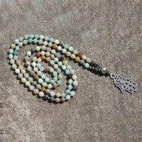 Wholesale New Style Unisex 108 Beads Mala Natural Stone Beaded Necklace Fancy 6mm Amazonite Hamsa Hand Pendant Yoga Necklace