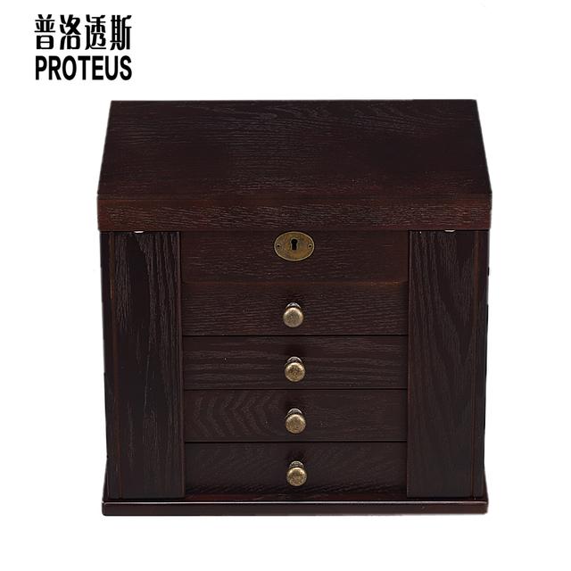 solid wood jewelry box large European wedding gifts birthday princess storage box