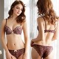 Sexy Rendas Profundo Decote Em V Roupas Íntimas Femininas Definir Underwire Push up Conjunto de Lingerie Sem Costura Sutiã Preto Para O peito Pequeno Bralette