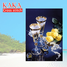 KAKA Cross stitch kits Embroidery needlework sets with printed pattern,11CT canvas,Home Decor for garden House,5D Crystal Rose