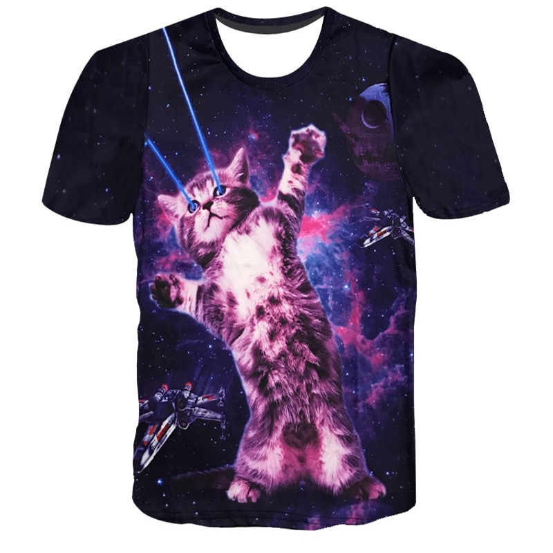 2018 Harajuku style summer tops/tees Space Cat printed 3D t-shirt men's t shirt homme casual t-shirts for men and women