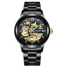 Luxury Men Mechanical Watches Waterproof Mens Black Diamond Business Tourbillon Hollow Fashion