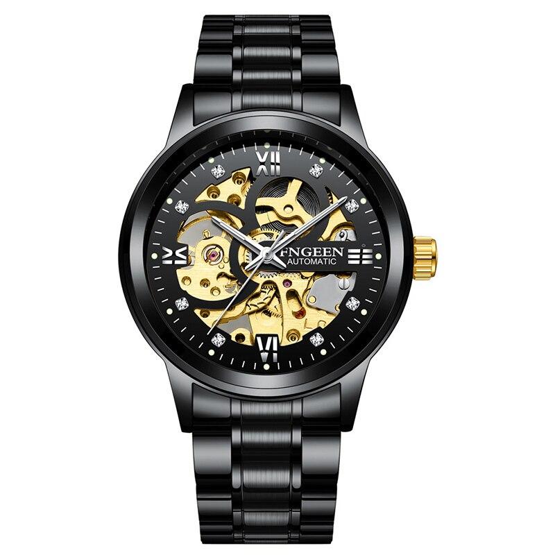 Men Mechanical Watches Luxury Waterproof Mens Black Diamond Business Tourbillon Hollow Fashion