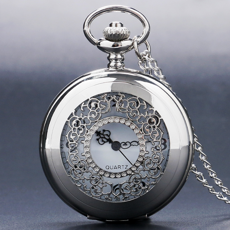 Elegant Silver Hollow Steampunk Grilles Trendy Case Pocket Watches Necklace Clock Best Gift To Women Girls Quartz Watch 2018