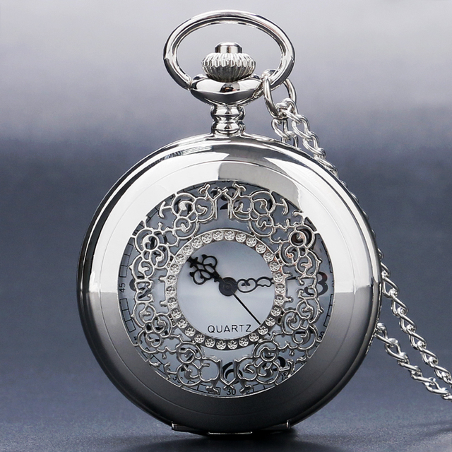 Elegant Silver Hollow Steampunk Grilles Trendy Case Pocket Watches Necklace Cloc