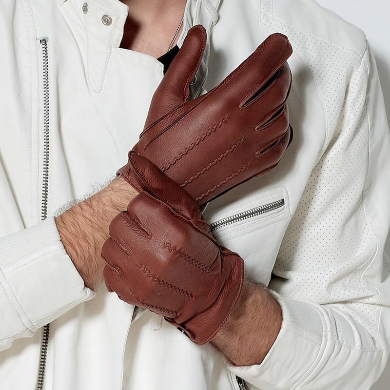 Fashion Luxury Men Deerskin Gloves Button Wrist Solid Genuine Leather Male Driving Gloves Winter Warm Gloves