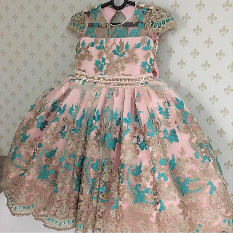 Hot Princess Pearls Royal Pink   Flower     Girl     Dress   long Fashion pageant   dresses   for kids communion   Dresses   kids evening gowns
