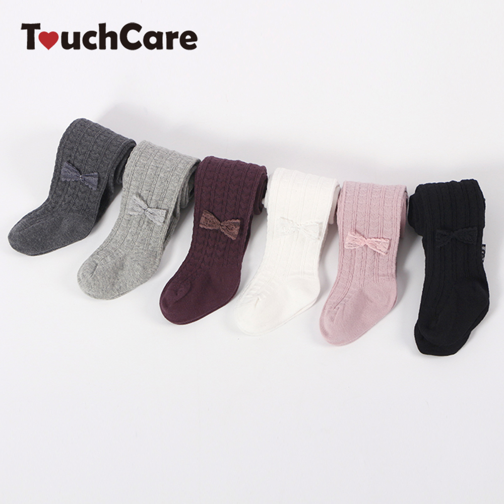 Touchcare Newborn Lace Bow Baby Girl Tights Kid Dancing Pantyhose Baby Stockings Infant Cotton PP Pants Toddler Girl Clothes touchcare newborn rib knit baby tights kid dancing pantyhose infant cotton pp pants cotton solid baby girl clothes