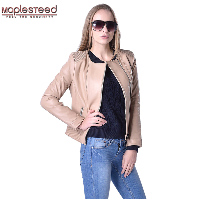 e17ff59a313 MAPLESTEED Brand Real Sheepskin Genuine Leather Jacket Women Black Green  Blue Beige Soft Bomber Female Leather Coat Autumn 170