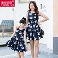 Согласованные семья одежда девочек платье принцессы женские платья 2016 весной мать и дочь платья лебедь живопись одежды семьи