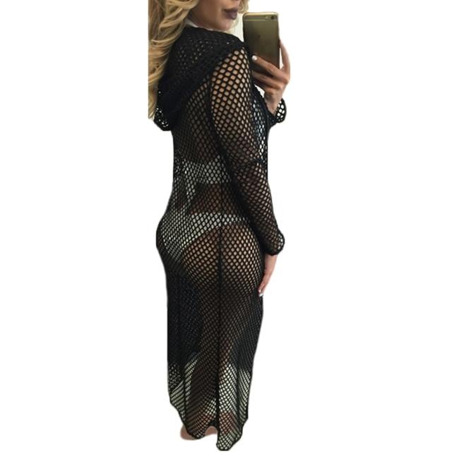 e79072e0da 2018 Beach Cover Up Sexy Mesh Cardigan Long Sleeve Hollow Hooded Women Tops  Blouse Summer Bikini Bathing Suit Cover-up Swimsuit