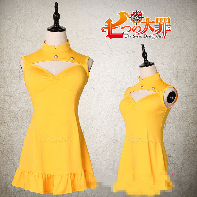 COSREA Japanese Anime Diane Cosplay Costume Hot Game The Seven Deadly Sins Yellow Lovely Dress Halloween Party For Woman