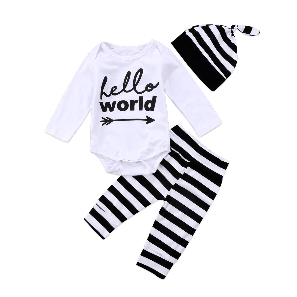 Hello World Cute Newborn Baby Boy Girl Clothes Letter White Romper Jumpsuit+ Long Striped Pants Trousers+ Hat Outfit Set 3Pcs