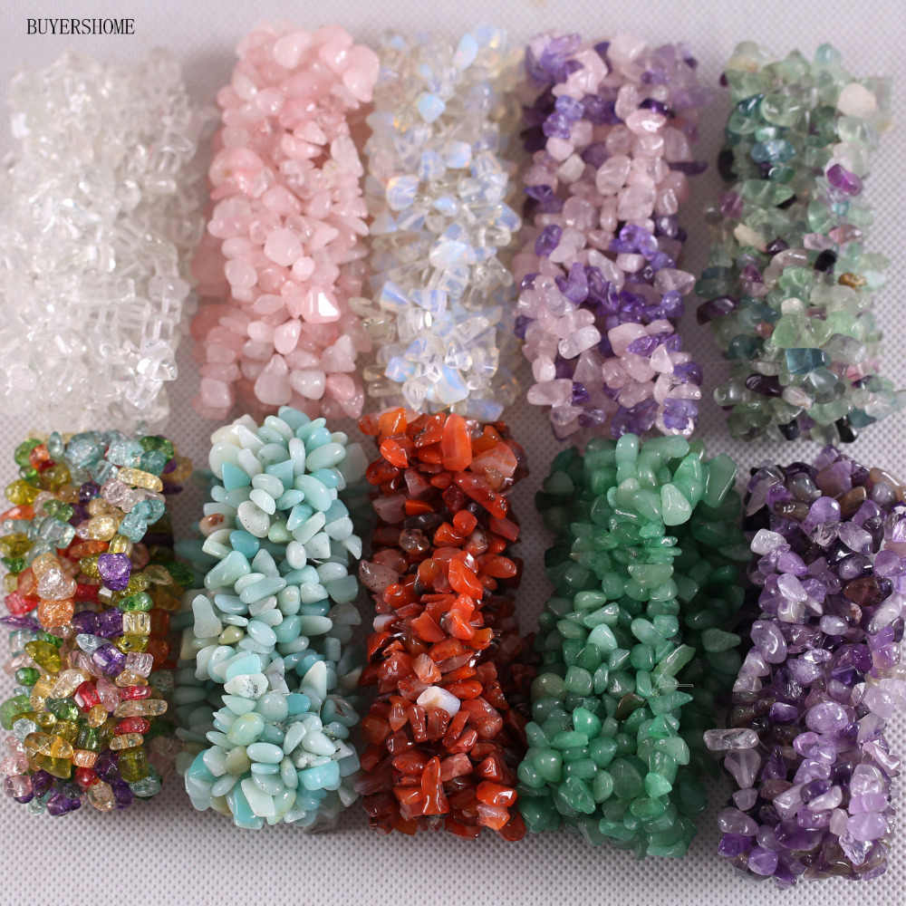 "Free Shipping Stretch Chip beads Weave Natural Garnet Shell Crystal Coral Quartz Opal Fluorite Onyx Bracelet 7"" 1Pcs"