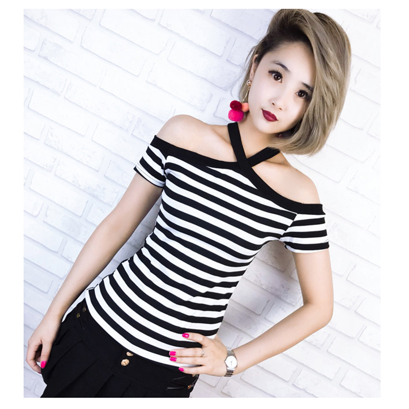 Camisetas Mujer Tee Shirt Femme Tshirt Women Off Shoulder Top Summer Tops 2018 T Shirt Striped Korean T-shirt Camiseta Feminina
