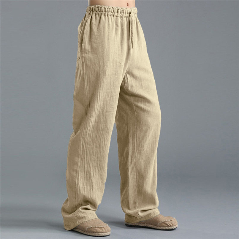 New Men Summer Fashion Trousers Linen Style Loose Casual Breathable Outdoor Solid Pants Sportswear Casual Straight Pants #4R06 (9)
