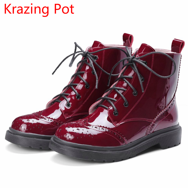 2018 Fashion Genuine Leather Lace Up Winter Boots Keep Warm Low Heels Motorcycle Boots Platform Round Toe Women Ankle Boots L16 fashion genuine leather chelsea boots handmade keep warm winter boots round toe thick heels concise ankle boots for women l08