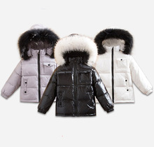 Baby Kids Winter Duck Down Hooded Fur Coats Boys Girls Children Thick Waterproof Toddler Warm Jackets