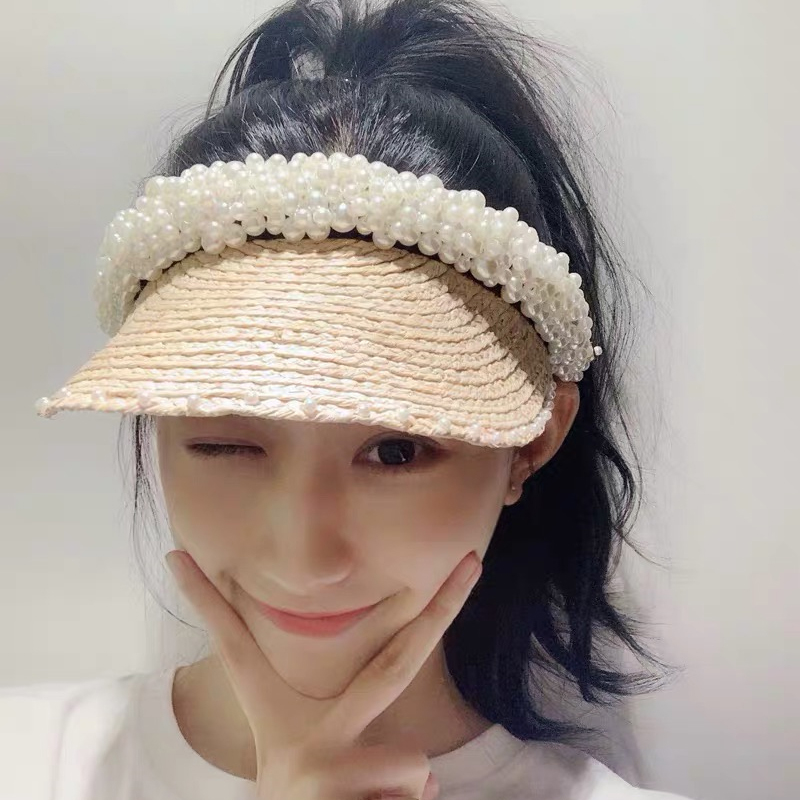 Wholesale 2019 New Women Pearl Headband Hat Raffia Visor Caps For Girls Beach Hats Braided Fashion Cap Lady Summer Straw Sun Hat