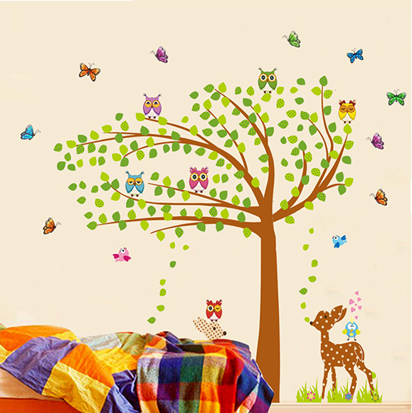 sticker on the wall Owl & Deer & Tree Giant Wall Sticker <font><b>for</b></font> Baby & Kids Rooms Home Decor wall <font><b>Decals</b></font> 165*170cm adhesivo pared