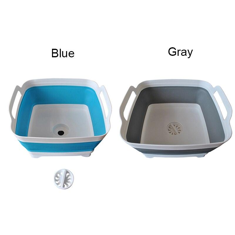 Newly Folding Square Fruit Vegetable Washing Washbasin Storage Basket Kitchen Outdoor Travel Supply
