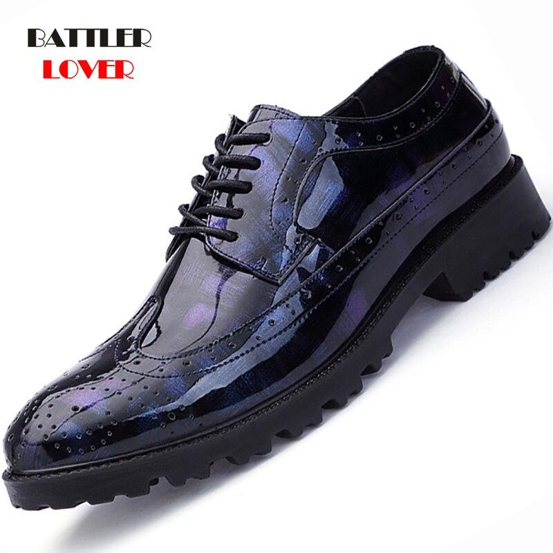 Czarne niebieskie fajne desinger brogue buty oxford dla