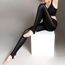 S-3XL Size Women Shiny Black Legging Autumn Ladies Push Up Slim Leggings High Waist Stretchy Soft  Large Y077